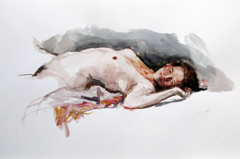 watercolor, painting, woman, fine art, horizontal